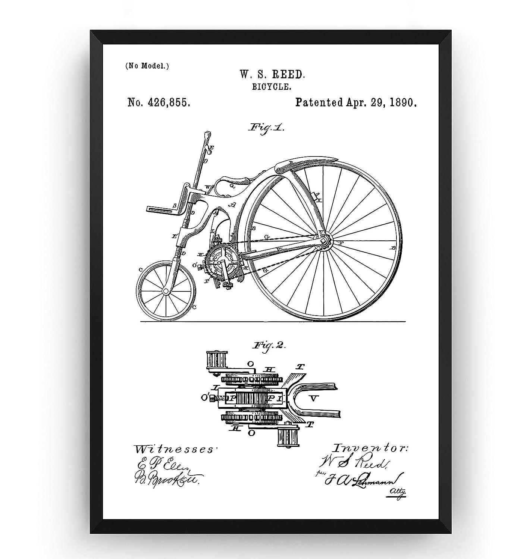 Bicycle 1890 - Patent Print Bike Cycling Cyclist Póster Con Diseños Patentes Decoración de Hogar Inventos Carteles - Marco No Incluido: Amazon.es: Handmade