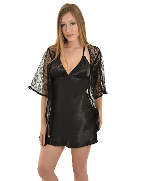 b71ab8ddb370 Womens Sexy Black Lingerie Sheer Floral Lace Robe Babydoll Dress 3 Piece  Set Sizes: Medium