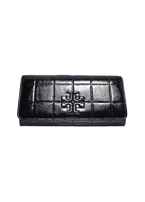 Tory Burch Marion Patent Leather Envelope Wallet Black Handbag Bag