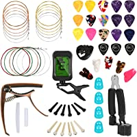 Hricane Guitar Accessories Kit With Guitar Strings, Tuner, Capo, String Winder&Cutter, Picks, Pick Holder, Bridge Pins…