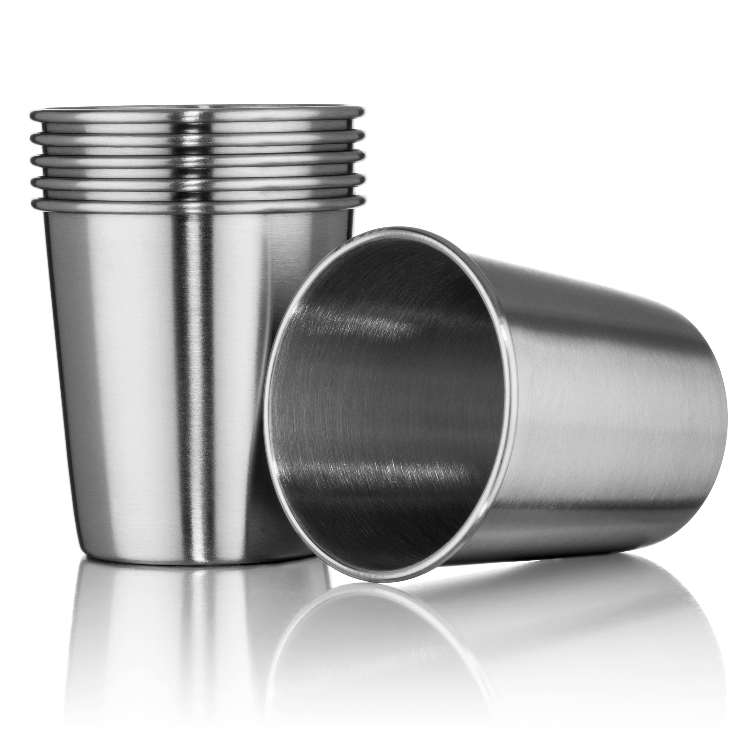 Hudson Essential 7 oz. Stainless Steel Cups - Stackable and Unbreakable Drinking Cups- Great for Kids - Set of 6 (7 oz.)