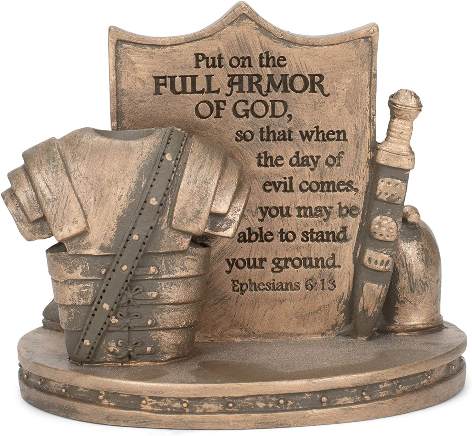 Dicksons Bronzetone Full Armor Scripture 3 x 4 Resin Decorative Tabletop Card Holder