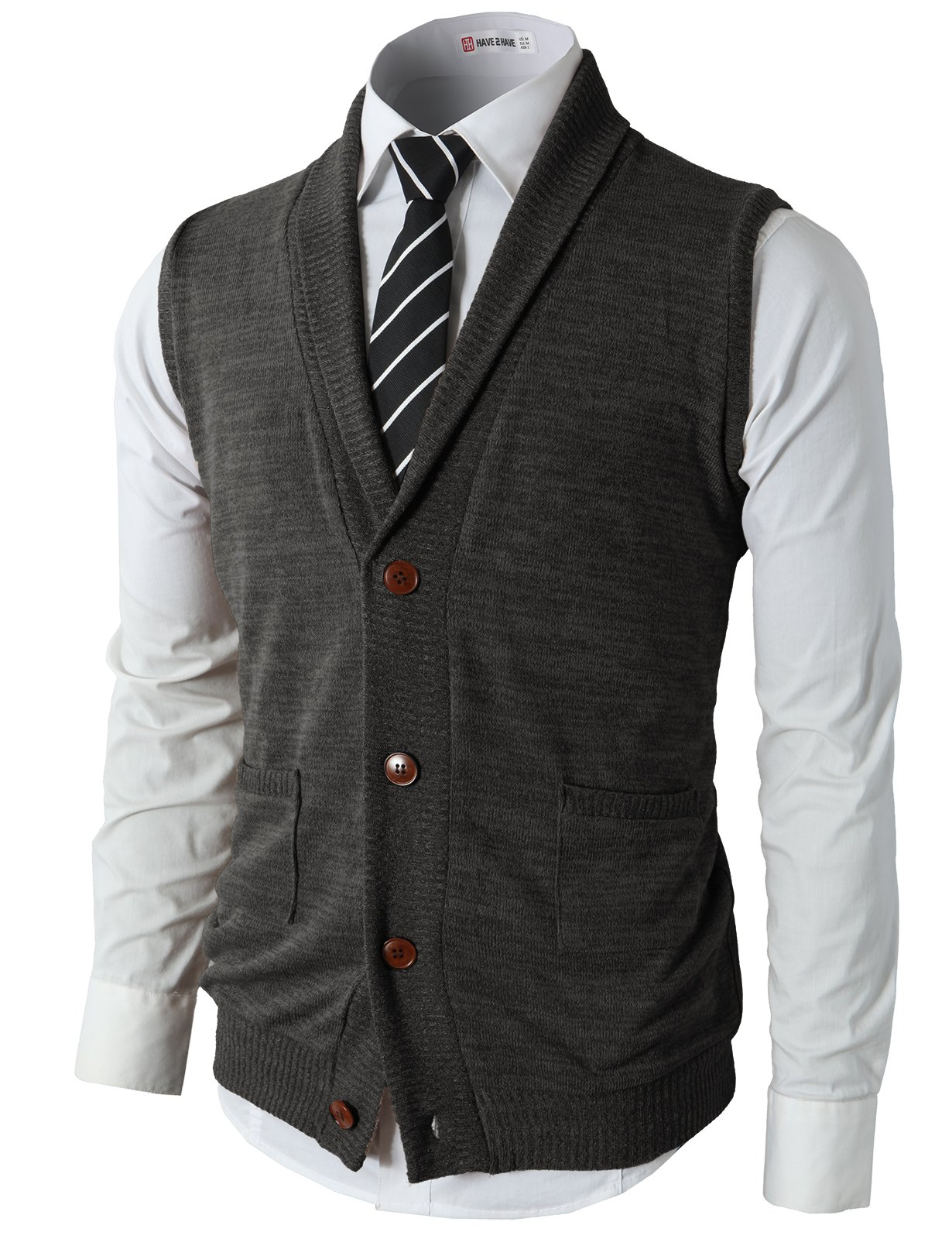 H2H Mens Casual Basic Shawl Collar Knitted Lightweight Vest Charcoal US 2XL/Asia 3XL (CMOV034)