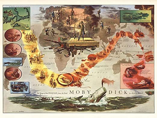 Map Everett 1956 Melville Moby Dick Pequod Pictorial XL Wall Art Canvas Print