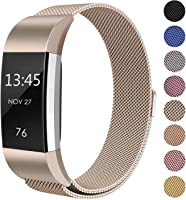 for Fitbit Charge 2 Bands & Charge 3 Bands Straps, FashionAids Milanese Loop Stainless Steel Metal Bracelet Strap with...