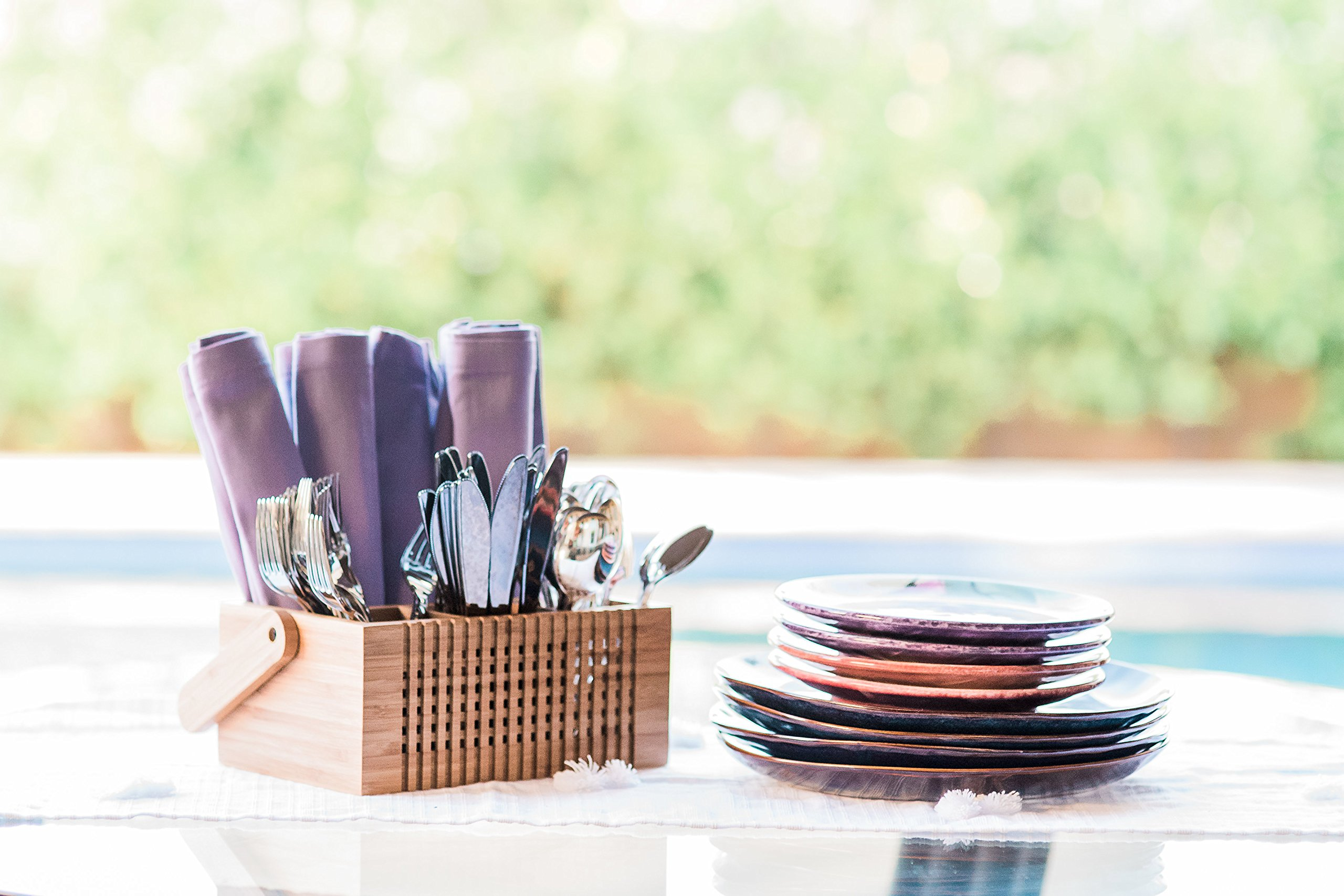Totally Bamboo Lattice Flatware Caddy with Handle by Totally Bamboo (Image #4)