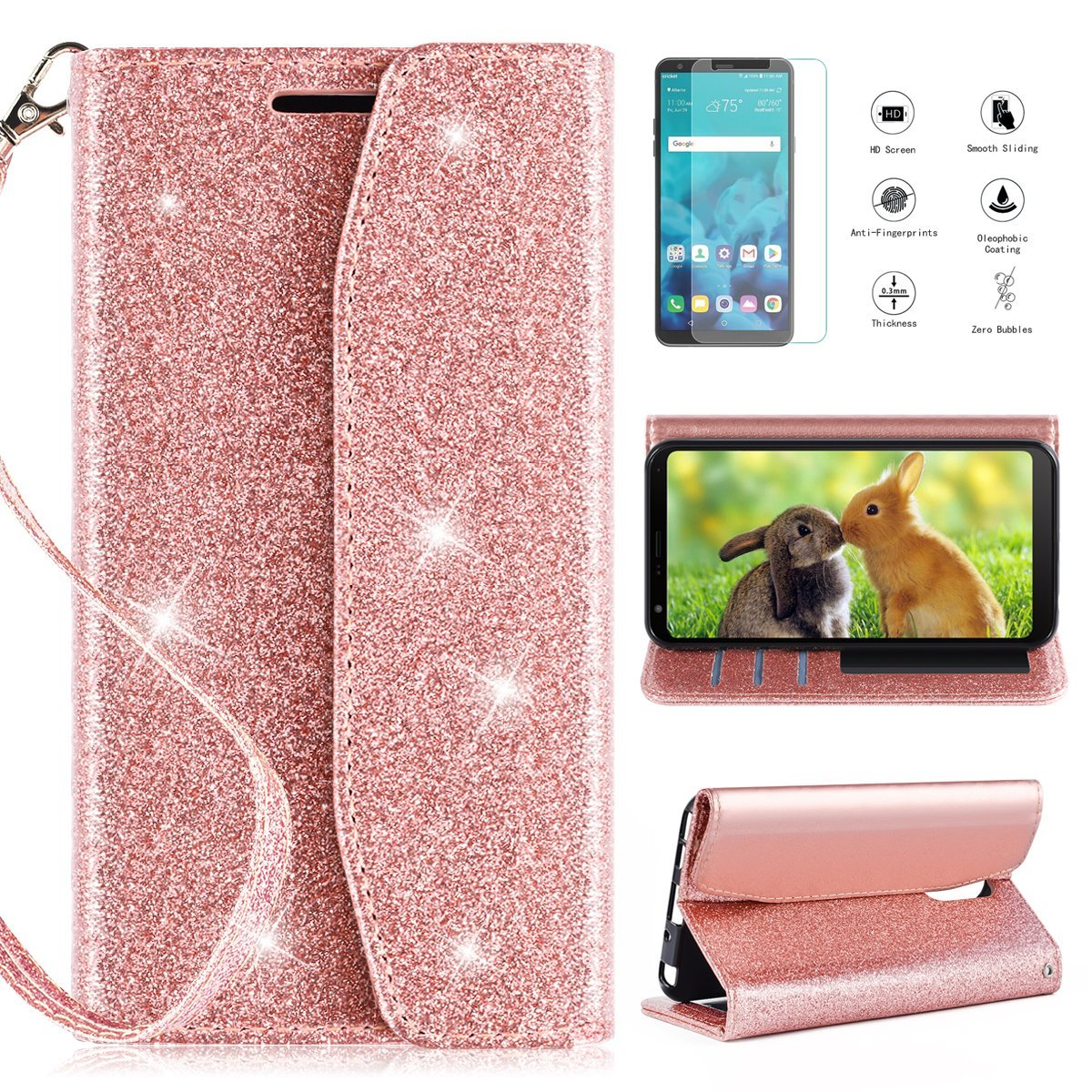 LG Stylo 4 Wallet Case 2018,LG Stylus 4 Wallet Case HD Screen Protector,CaseRoo [Kickstand] [Card Slots] [Wrist Strap] 2 in 1 Glitter Magnetic Flip PU Leather Cover Cosmetic Mirror-Rosegold
