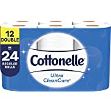 Cottonelle Ultra CleanCare Strong Toilet Paper, Bath Tissue, 12 Double Rolls (12 Double Rolls = 24 Regular Rolls)