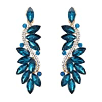 BriLove Women's Fashion Wedding Bridal Crystal Flower Romantic Dangle Clip-On Earrings