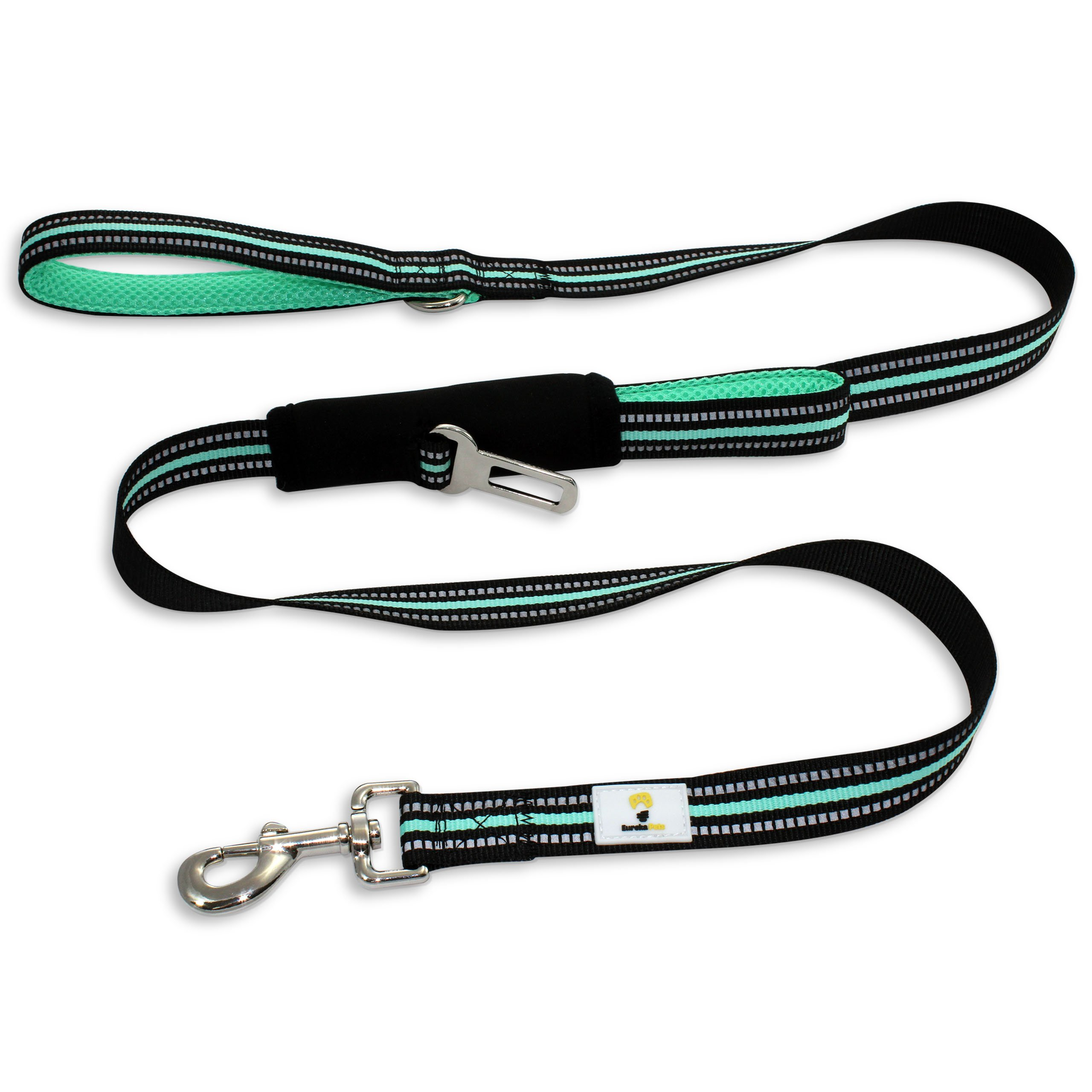 Eureka Pets Dog Leash – Car Seatbelt Buckle For Safety – 5ft Long – Dual Handles For Control - Reflective Stitches For Night Walk – Heavy Duty Clasp – Small Medium and Large Dogs – Best Leash