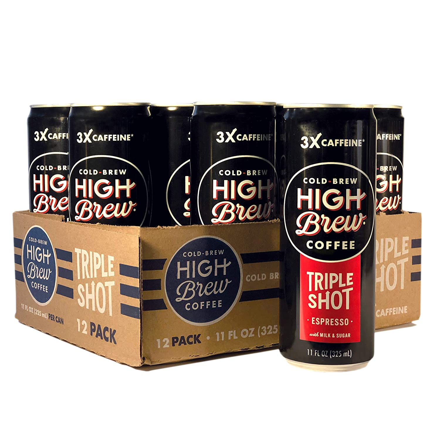 High Brew Cold Brew Coffee Espresso Triple Shot, 11 Ounce Can (12 Count)