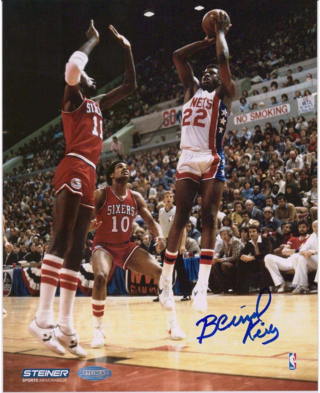 Bernard King New Jersey Nets Autographed 8 X 10 Shot Over 76ers Photograph Autographed Nba Photos At Amazon S Sports Collectibles Store