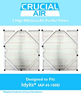 Crucial Air Replacement Air Purifier Filter Compatible with Idylis Part # IAF-H-100D, Fits Idylis D Air Purifier Filter IAP-10-280 Model, for Home & Office - Air Purifier to Reduce Room Odor (2 Pack)