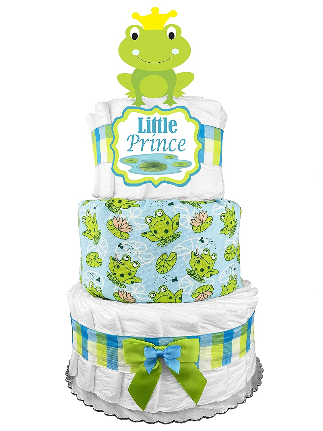 Frog Diaper Cake - Boy Baby Shower Gift Idea - Blue and Green