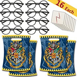 16 Each - Round Glasses + Lightning Bolt Scar Tattoos + Harry Potter Loots Bags - Party Favors/Dress Up Costume Supplies for Wizard Theme - Great for Pinatas, Handout, Prizes, and Birthday Gifts