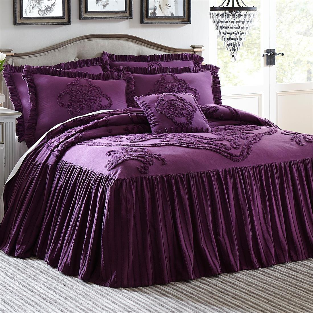 Amazoncom Brylanehome Madison Flounce Bedspread EggplantQueen