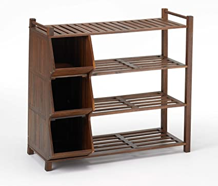 Merry Products SLF0020110000 4 Tier Outdoor Shoe Rack And Cubby