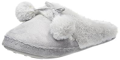 bbaea7d83d2 Totes Women s Suedette Fur Mule Slippers Open Back (Grey)