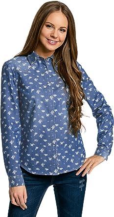 oodji Ultra Mujer Camisa Vaquera con Botones a Presión: Amazon.es ...
