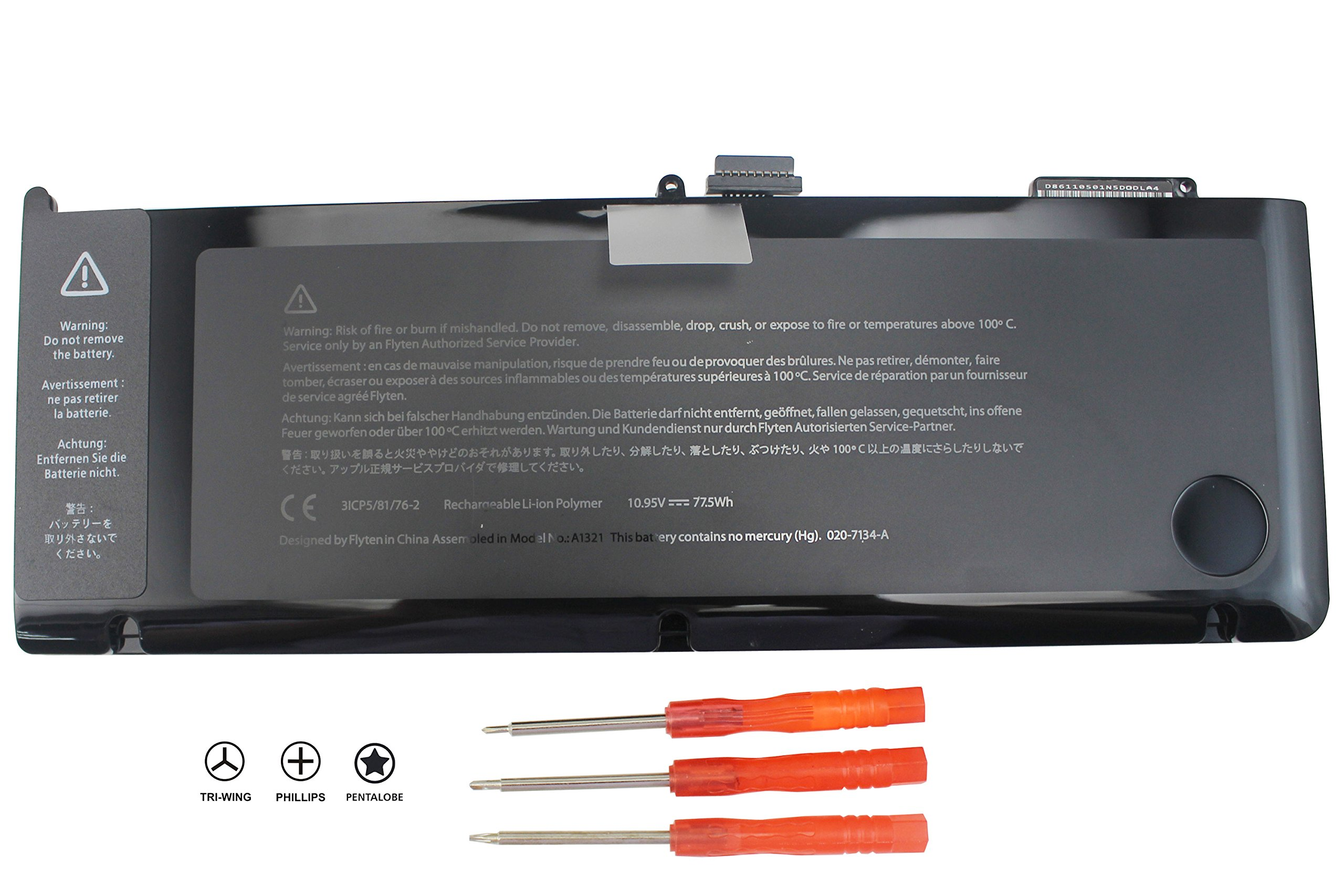 BATURU 77.5WH A1321 Laptop Battery for Apple Macbook Pro 15'' A1286 (Mid 2009, Early/Late 2010) MB985LL/A MB986LL/A MC371LL/A MC372LL/A MC118LL/A 020-6766-b 661-5476 661-5211 - 18 Months Warranty