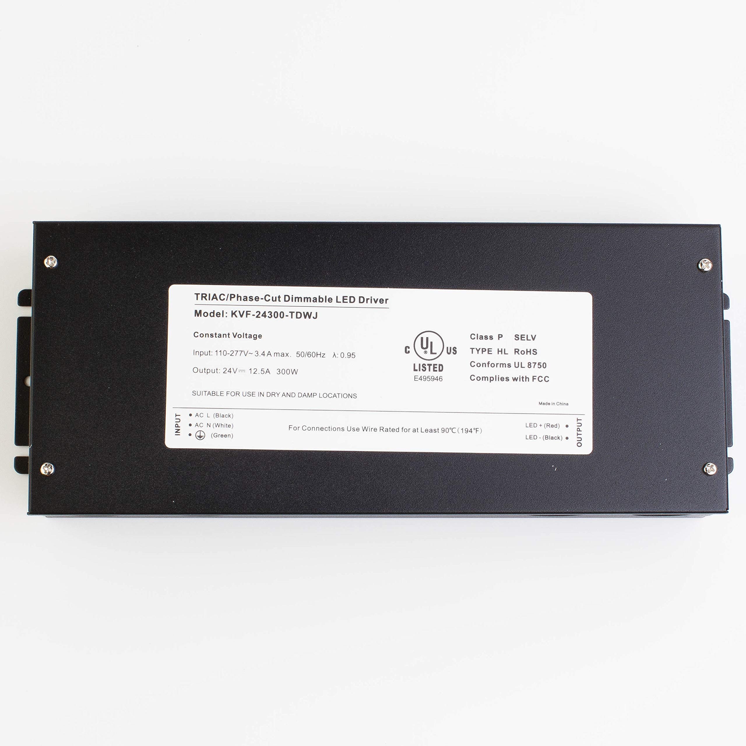 LEDupdates 24v UL Listed 300w Triac Dimmable Driver 110v - 277V AC to DC Transformer Constant Voltage Power Supply for LED Strip light Control by AC Wall Dimmer (24v 300w) by LEDUPDATES (Image #8)