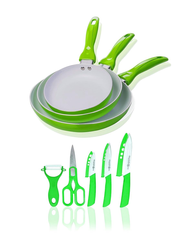 Compra Quttin Set 3 Sartenes Cerámicas Verde + Set 5 Cuchillos ...