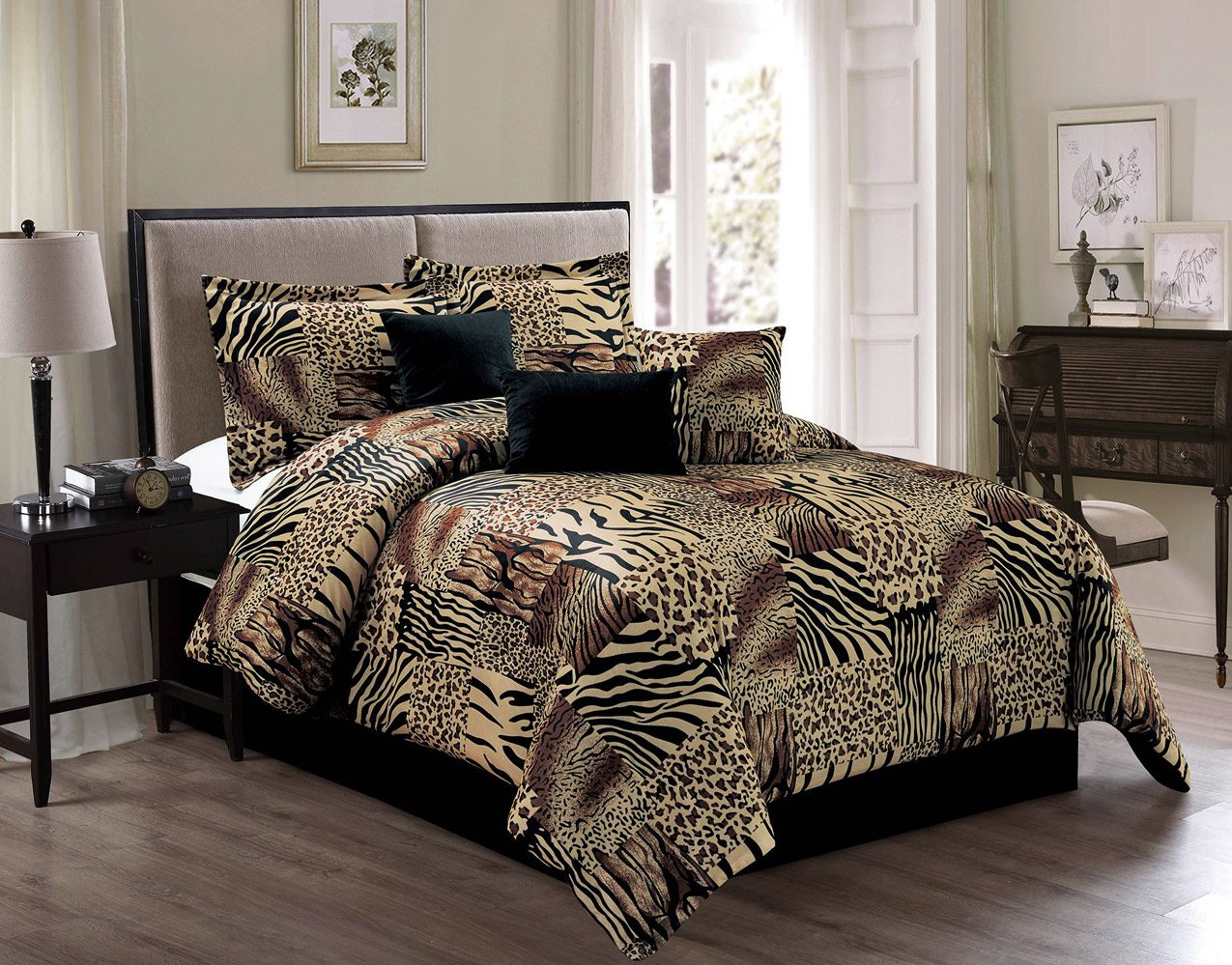 7 Piece KING Safari Micro Fur Comforter set - Zebra, Giraffe, Leopard, Tiger Etc - Multi Animal Print Bed in a Bag Brown Beige Black White Bedding