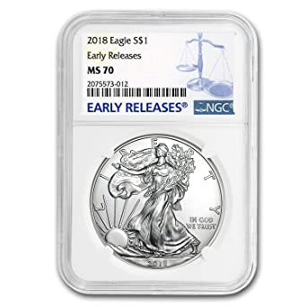 Early Releases Green Holder 2018 $1 American Silver Eagle MS70 NGC