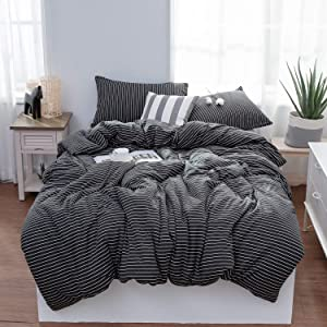 LIFETOWN Striped Duvet Cover Queen, Jersey Knit Cotton Duvet Cover Set, 1 Duvet Cover and 2 Pillowcases, Super Soft and Easy Care (Full/Queen, Black/White Stripes)