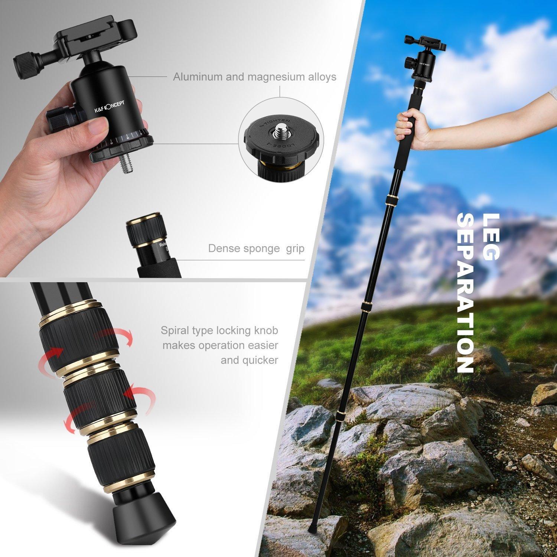 K/&F Concept Tr/épied Appariel Photo Carbone TC2335 Voyage Portable Compatible avec Reflex Num/ériques DSLR Cam/éscopes Canon Nikon Sony Olympus Pentax GoPro 12 kg