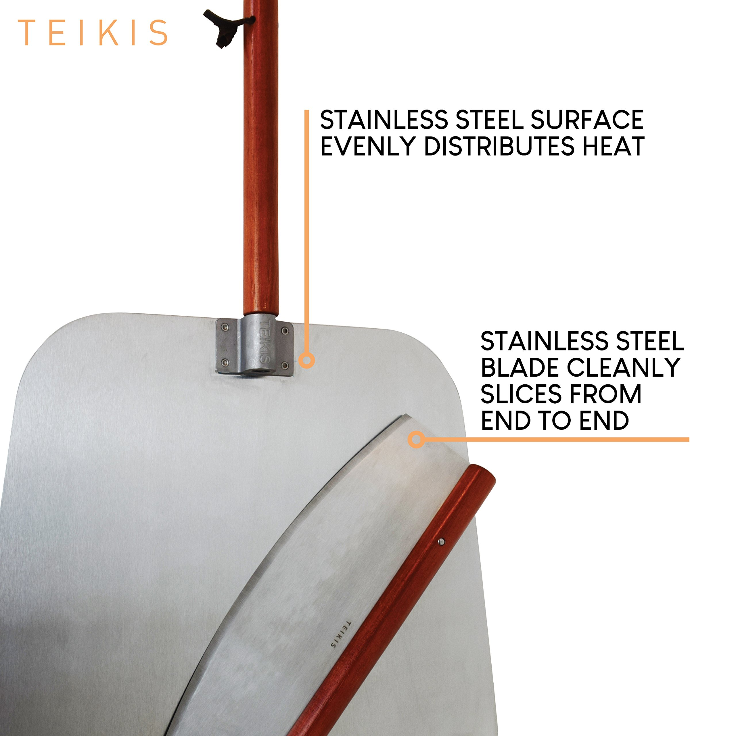 TeiKis Large 14-inch Pizza Cutter + Pizza Peel Paddle Board Set (14-inch x 16-inch) with Wood Handle by TeiKis (Image #5)