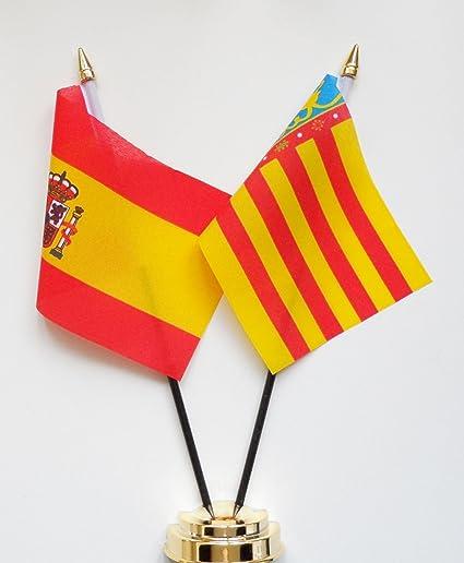 España y Valencia amistad Bandera de mesa pantalla 25 cm (10 ...