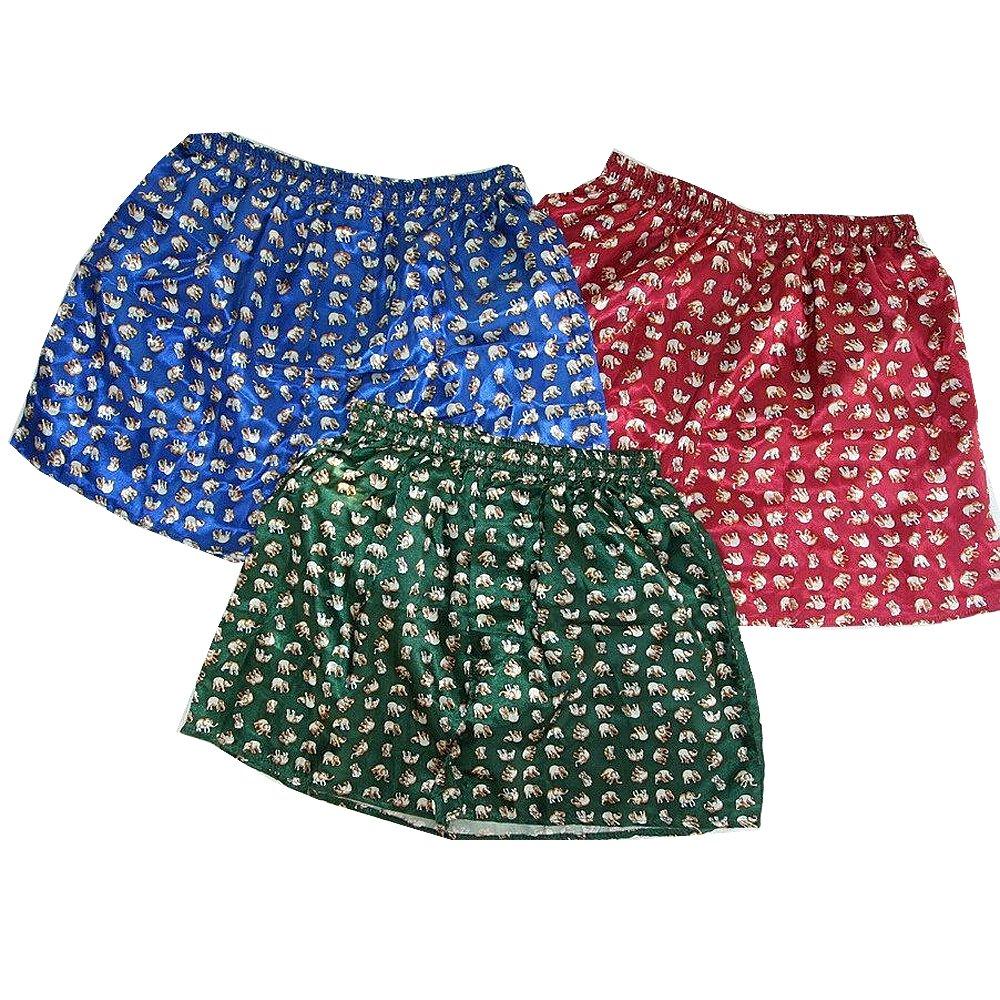 Men's Soft Underwear Thai Silk Blend Blue/Red/Green (Size: XXL : 40-44 Inches) by THAI SILK