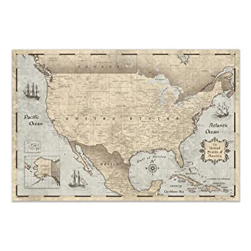 Conquest Maps United States Map Poster Cities, States, Countries - Travel  map Poster & Stylish Educational USA map. Matte Poster Paper, Rustic  Vintage ...