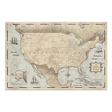 Amazon.com: United States Map Poster by Conquest Maps: Cities ...