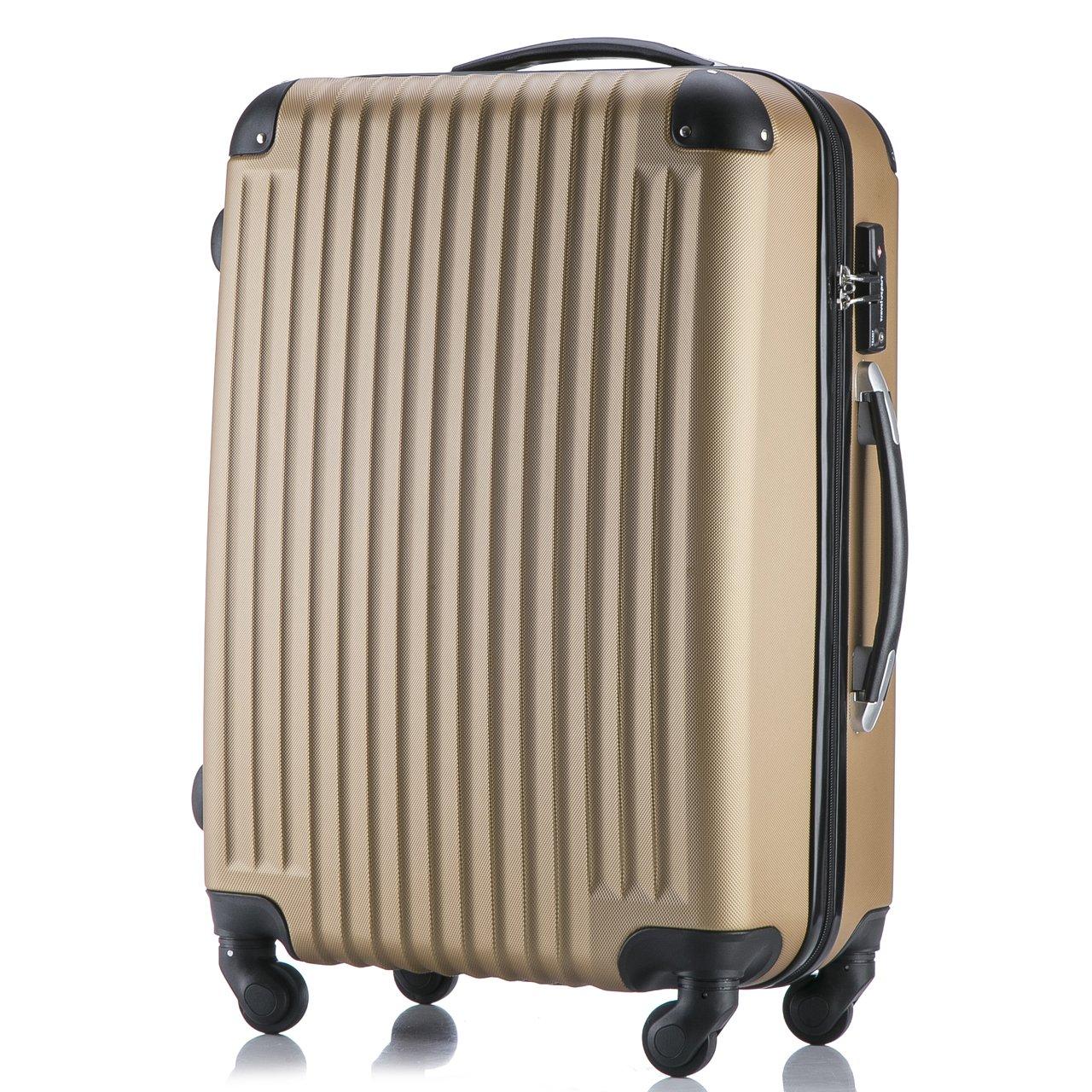 (トラベルデパート) 超軽量スーツケース TSAロック付 B01MTR6PIU Lサイズ(長期旅行用/86L)|ゴールド ゴールド Lサイズ(長期旅行用/86L)
