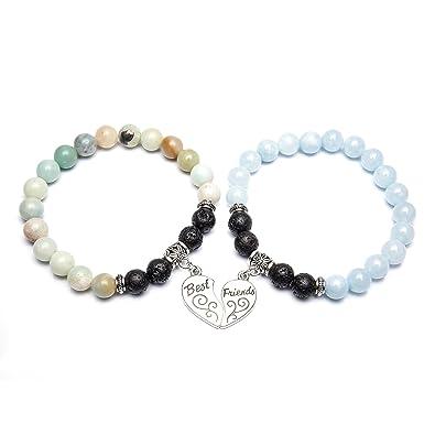 3ef6a3b9ebed8 Bivei Best Friends Bracelets for 2 - Crystal Gemstone Round Beads Lava  Stone Diffuser Heart Charm Friendship Bracelets