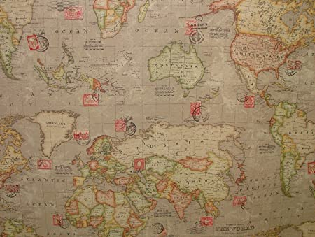 1 metre vintage atlas world map natural stone linen look curtain 1 metre vintage atlas world map natural stone linen look curtain upholstery fabric gumiabroncs Gallery
