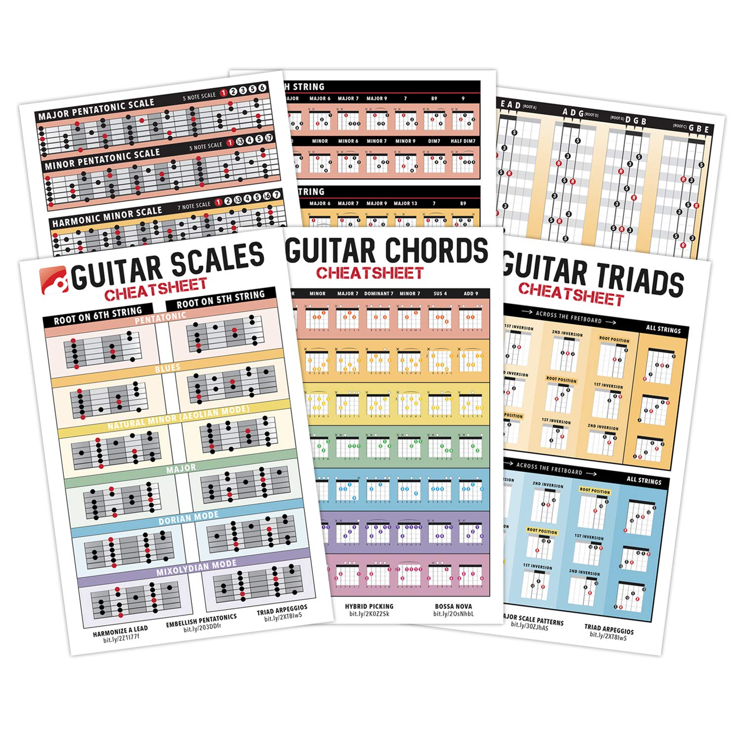 iVideosongs Guitar Cheatsheets Bundle (Chords, Scales & Triads) Pocket Reference • FREE Access 150+ Online Tutorials & Song Lessons • 4'' x 6'' by IVIDEOSONGS