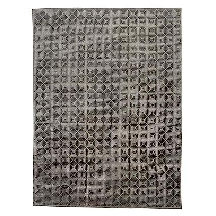 Amazon Com Shahbanu Rugs Wool And Bamboo Silk Geometric Modern