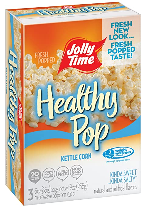 amazon com jolly time healthy pop kettle corn 94 fat free weight watchers microwave popcorn 3 count boxes 9 oz pack of 12