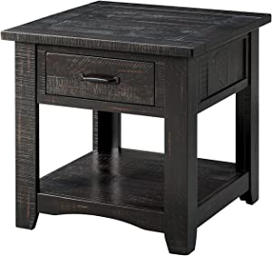 Martin Svensson Home 890132 Rustic End Table, Antique Black