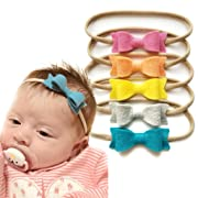 Baby bows and headbands - Newborn to toddler baby girl MADE IN USA - SET of 5 (Macaroon)
