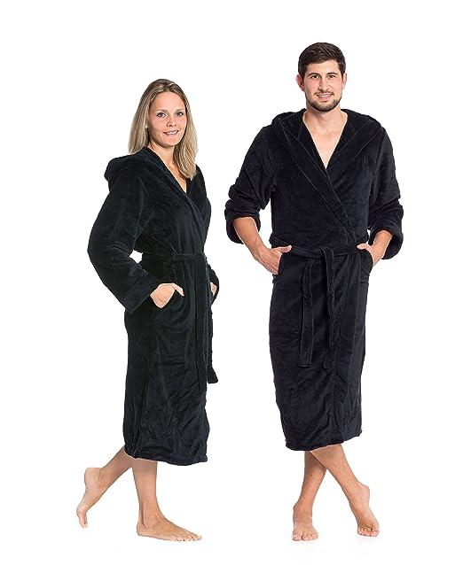 12 opinioni per ZOLLNER® accappatoio / vestaglia in microfibra con cappuccio, taglia M, nero,