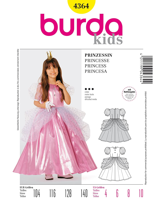 Burda 4364 Schnittmuster Kostüm Fasching Karneval Prinzessin (kids ...