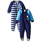 Gerber Baby Boys' 2 Pack Zip Front Sleep 'n Play, Safari, 0-3 Months