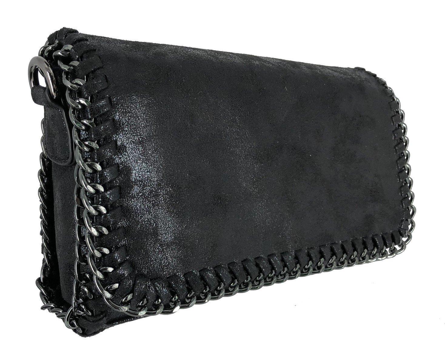 CRAZYCHIC Clutch Embrague Mini Bolsos de Fiesta Noche Brillante Metalizado Cuero de PU Gamuza Lentejuelas Crossbody Messenger Bag Moda Negro Cartera de Mano Cadena Mujer