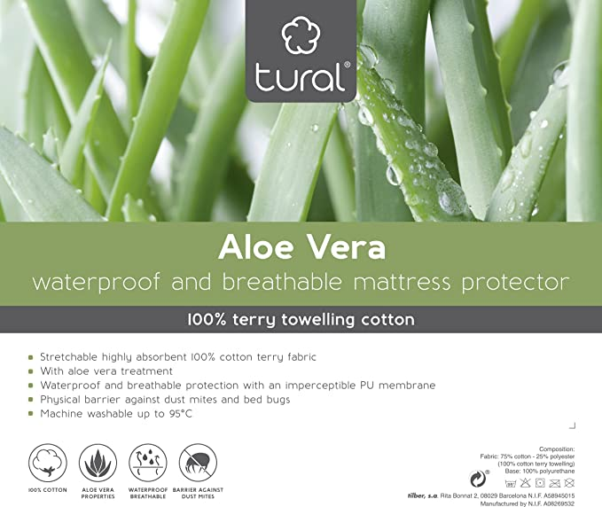 Tural - Protector de colchón Impermeable (Pack de 2). Cubre colchon con Tratamiento Aloe Vera. Cubrecolchón para Cama Individual, Transpirable.