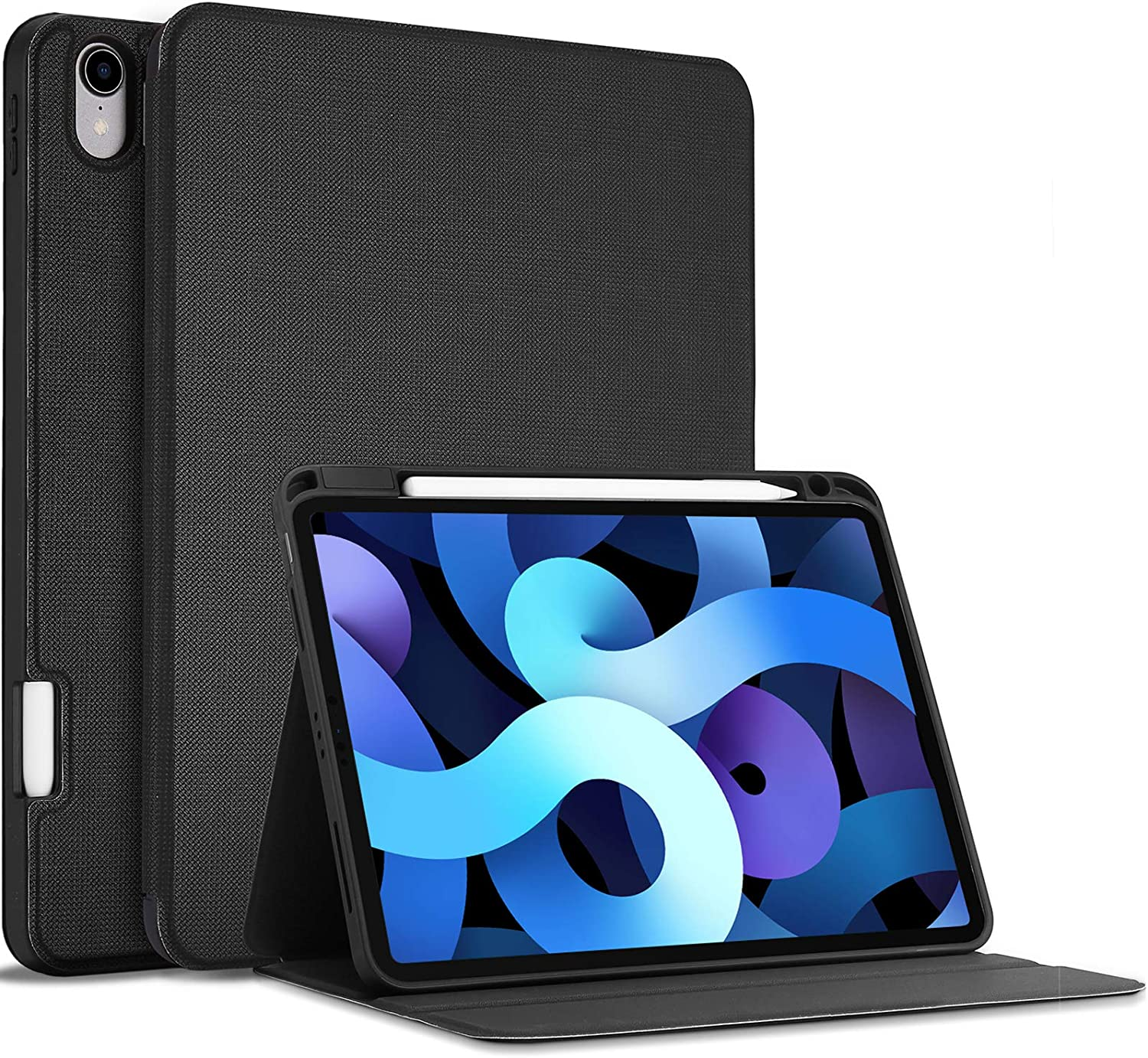 ProCase New iPad Air 4 Case (Latest Model), iPad 10.9 inch 2020 Case with Pencil Holder, Slim Protective Folio Stand Cover for iPad Air 4th Generation 10.9 inch 2020 Release -Black