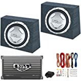 "2) BOSS AUDIO CX122 12"" 1400W Car Subwoofers + Sealed Boxes + Amplifier+ Wiring"